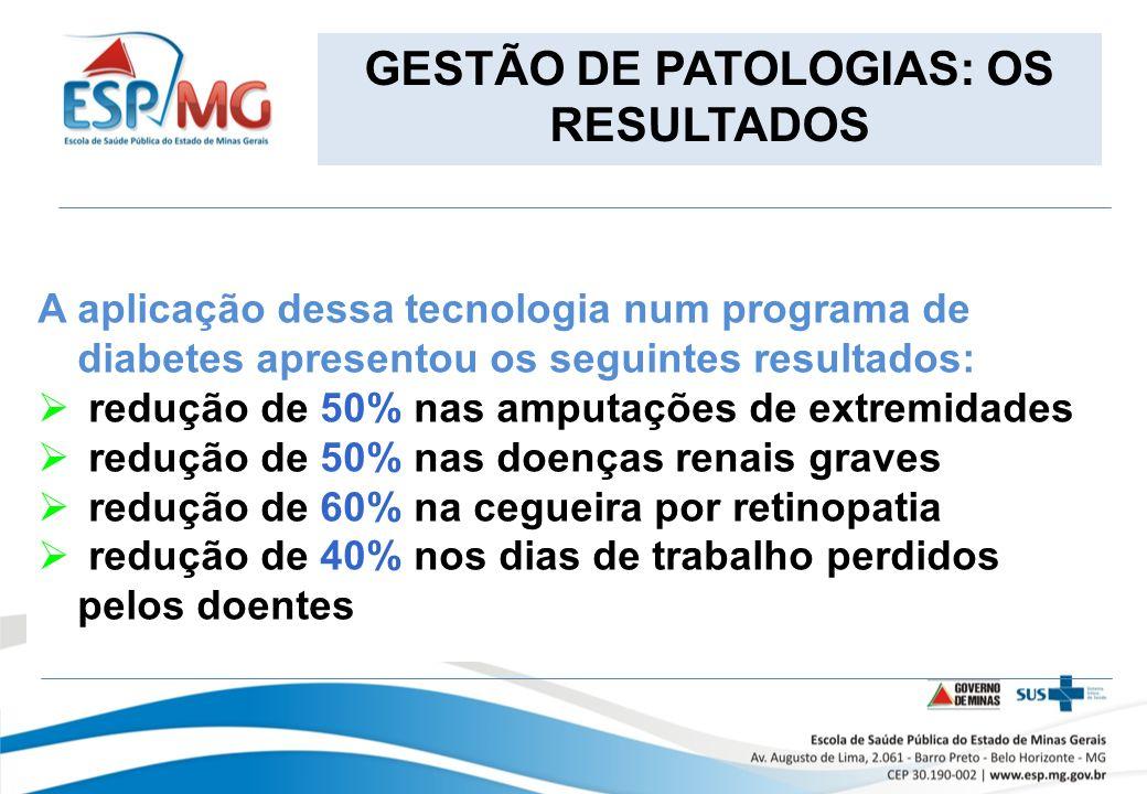 GESTÃO DE PATOLOGIAS: OS RESULTADOS