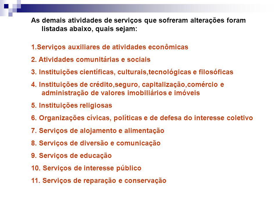 As demais atividades de serviços que sofreram alterações foram listadas abaixo, quais sejam: