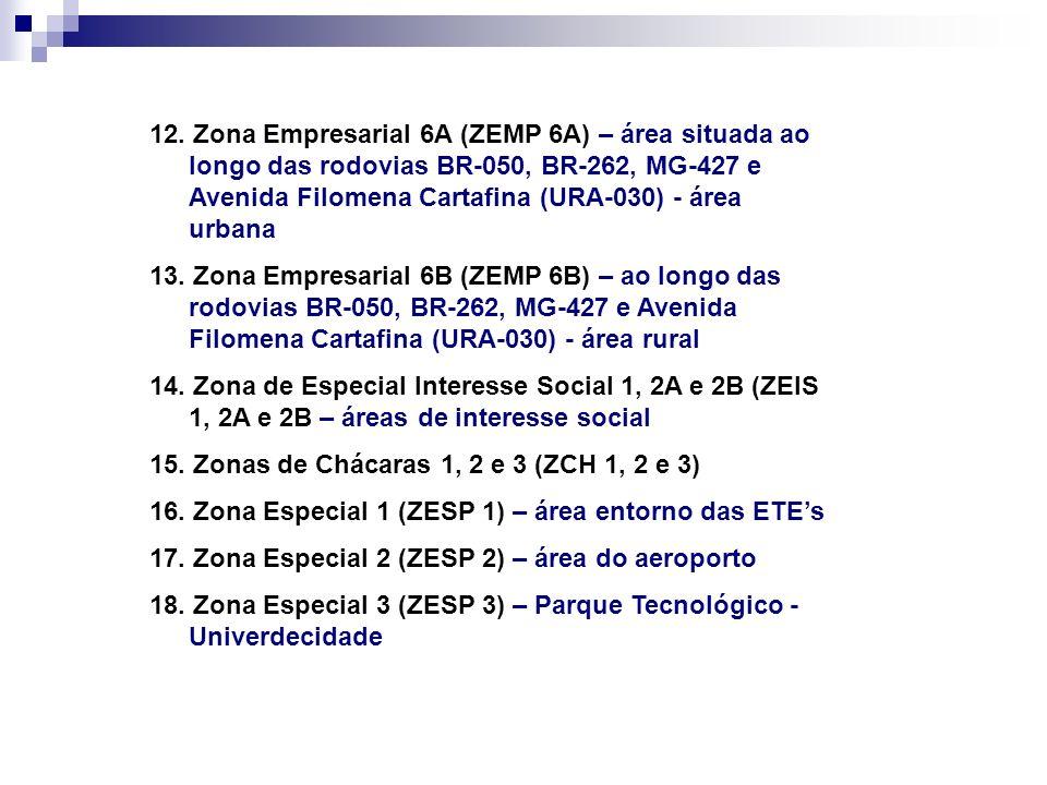 12. Zona Empresarial 6A (ZEMP 6A) – área situada ao longo das rodovias BR-050, BR-262, MG-427 e Avenida Filomena Cartafina (URA-030) - área urbana
