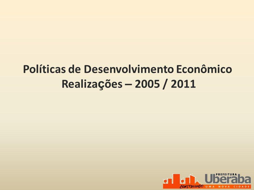 Políticas de Desenvolvimento Econômico Realizações – 2005 / 2011