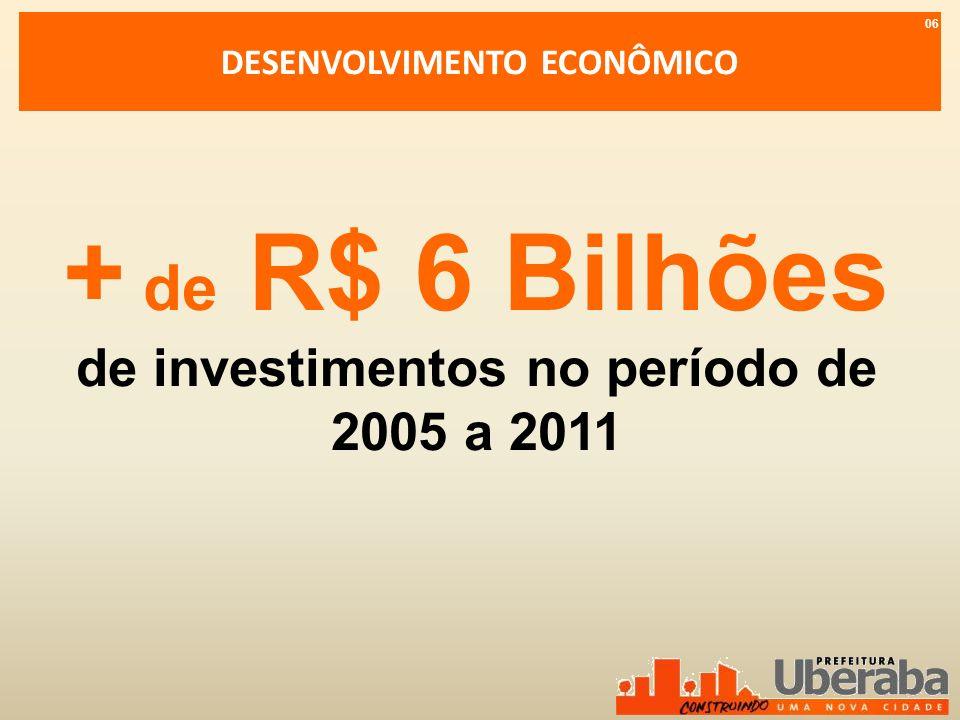 DESENVOLVIMENTO ECONÔMICO de investimentos no período de 2005 a 2011