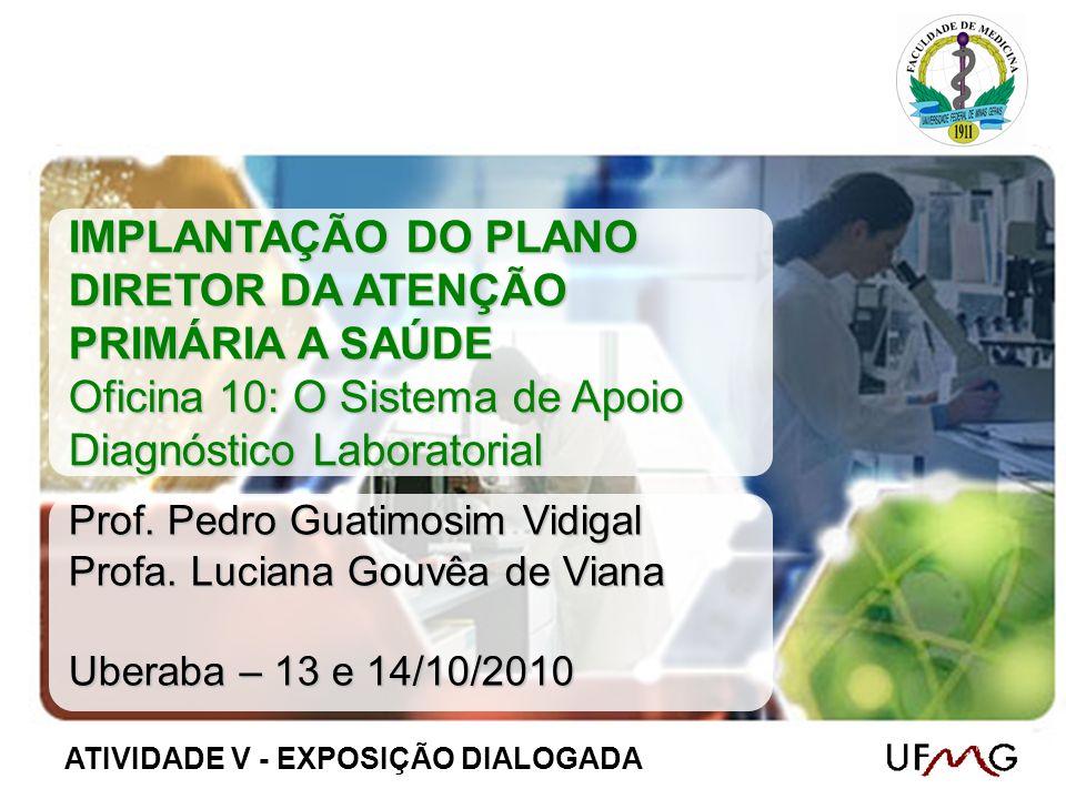 IMPLANTAÇÃO DO PLANO DIRETOR DA ATENÇÃO PRIMÁRIA A SAÚDE Oficina 10: O Sistema de Apoio Diagnóstico Laboratorial