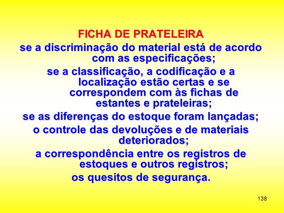se a discriminação do material está de acordo com as especificações;