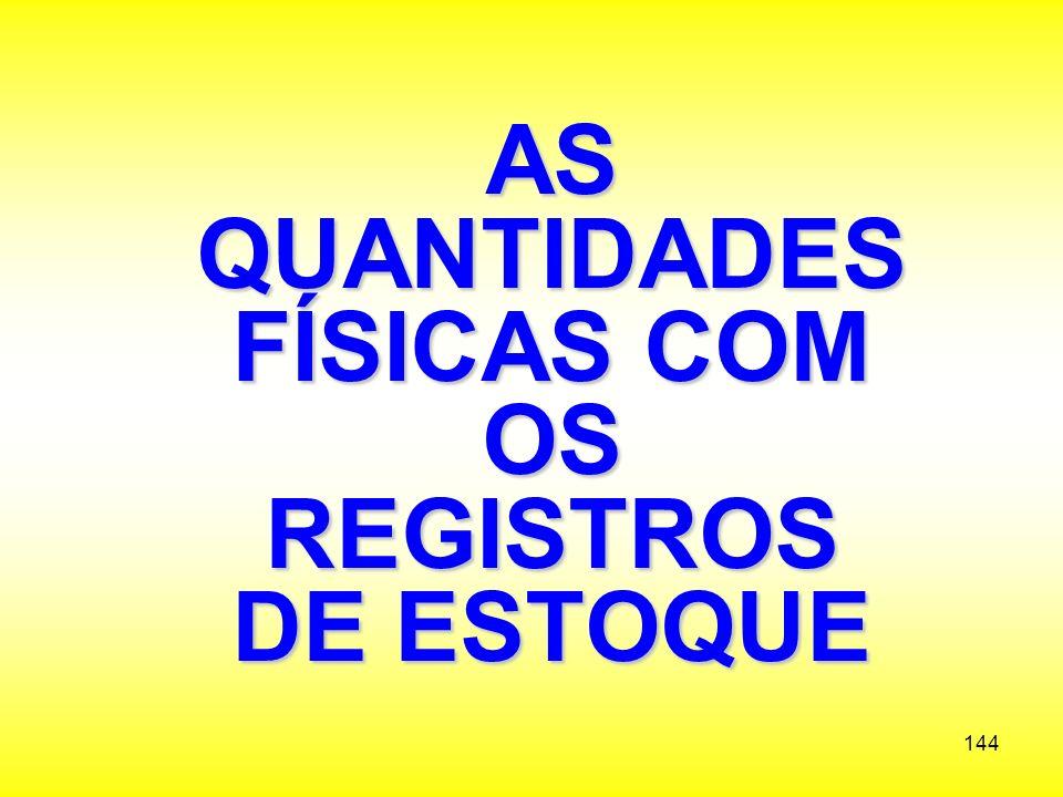 AS QUANTIDADES FÍSICAS COM OS REGISTROS DE ESTOQUE
