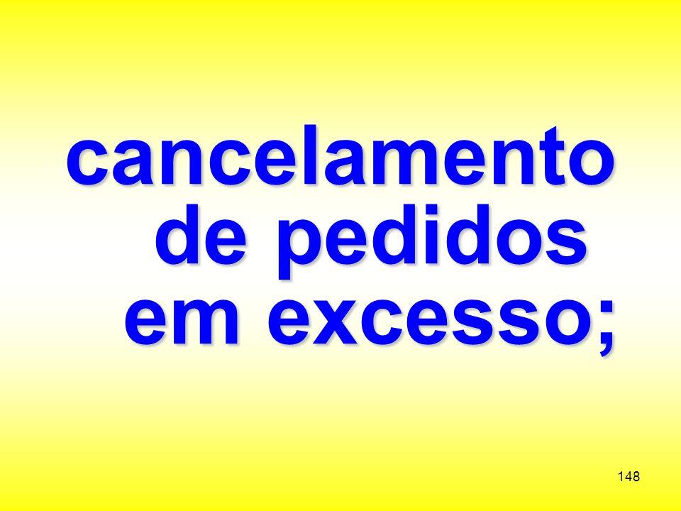 cancelamento de pedidos em excesso;