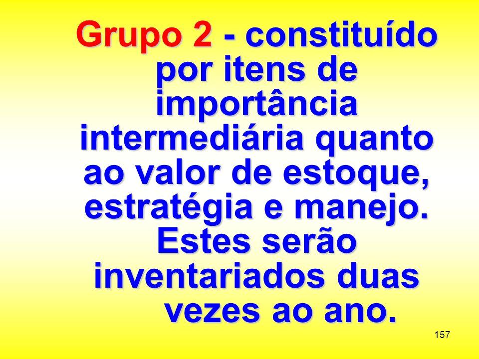 Grupo 2 - constituído por itens de importância intermediária quanto ao valor de estoque, estratégia e manejo.