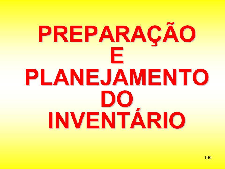 PREPARAÇÃO E PLANEJAMENTO DO INVENTÁRIO