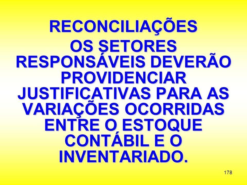 RECONCILIAÇÕES OS SETORES RESPONSÁVEIS DEVERÃO PROVIDENCIAR JUSTIFICATIVAS PARA AS VARIAÇÕES OCORRIDAS ENTRE O ESTOQUE CONTÁBIL E O INVENTARIADO.