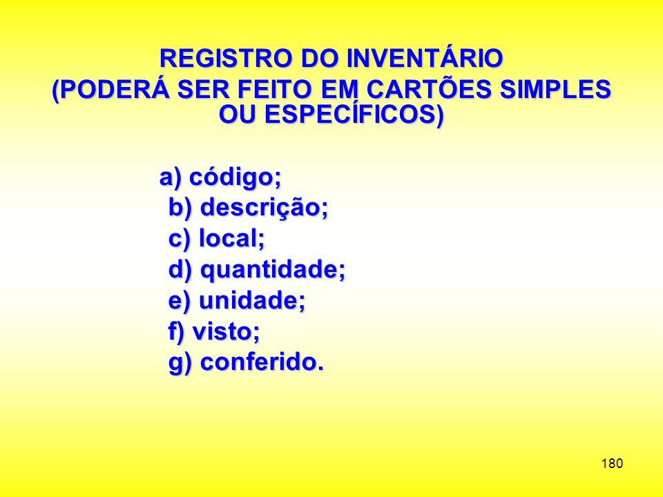 REGISTRO DO INVENTÁRIO