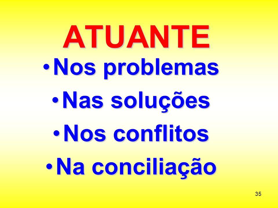 ATUANTE Nos problemas Nas soluções Nos conflitos Na conciliação