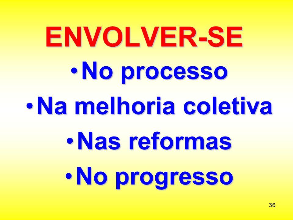 ENVOLVER-SE No processo Na melhoria coletiva Nas reformas No progresso