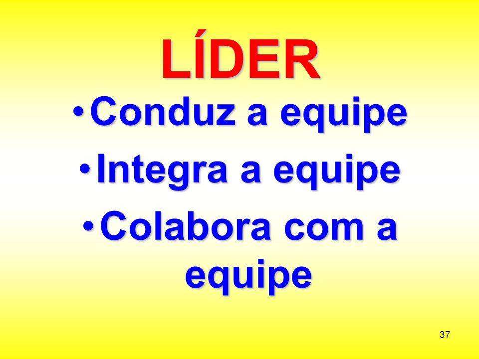 LÍDER Conduz a equipe Integra a equipe Colabora com a equipe