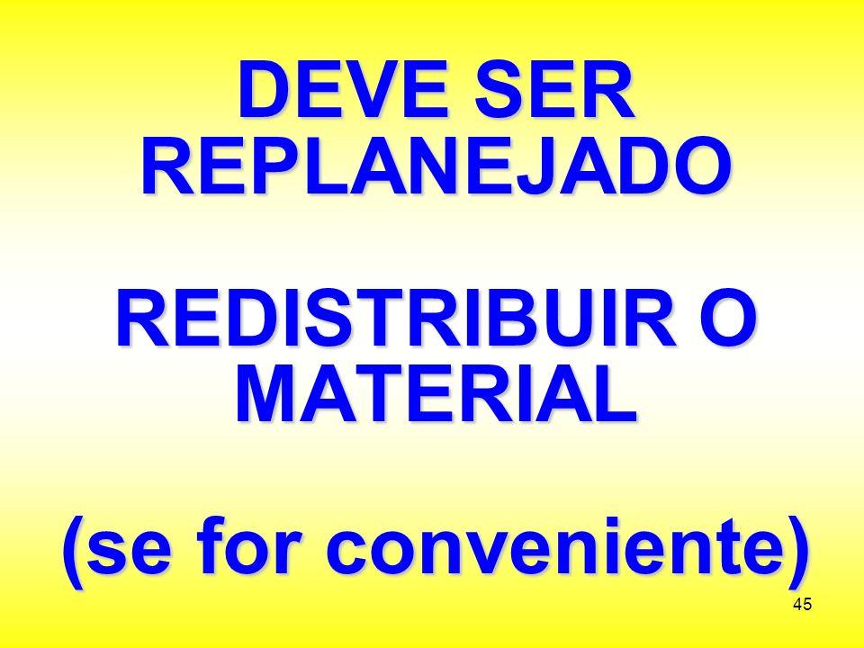 DEVE SER REPLANEJADO REDISTRIBUIR O MATERIAL (se for conveniente)