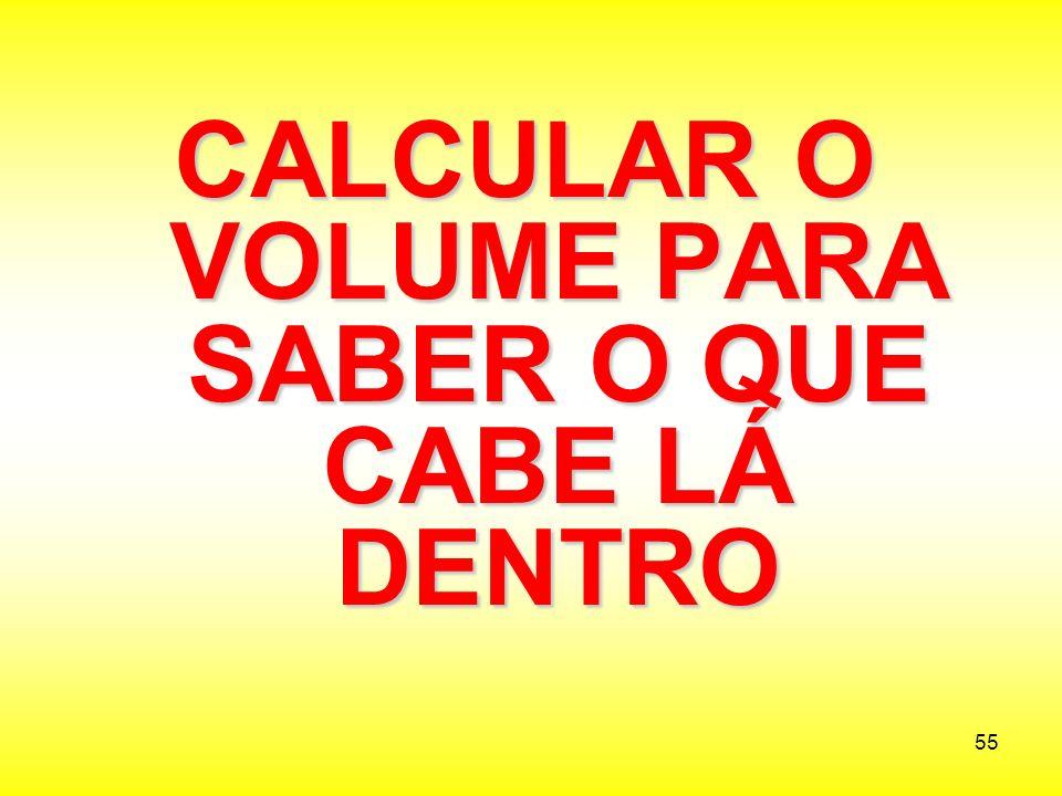 CALCULAR O VOLUME PARA SABER O QUE CABE LÁ DENTRO