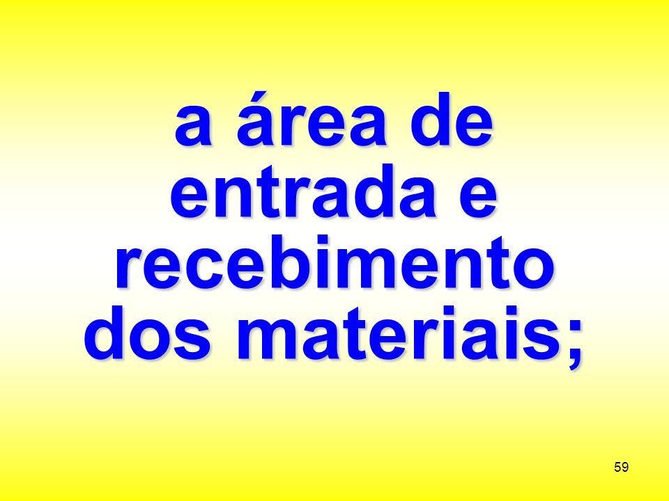 a área de entrada e recebimento dos materiais;