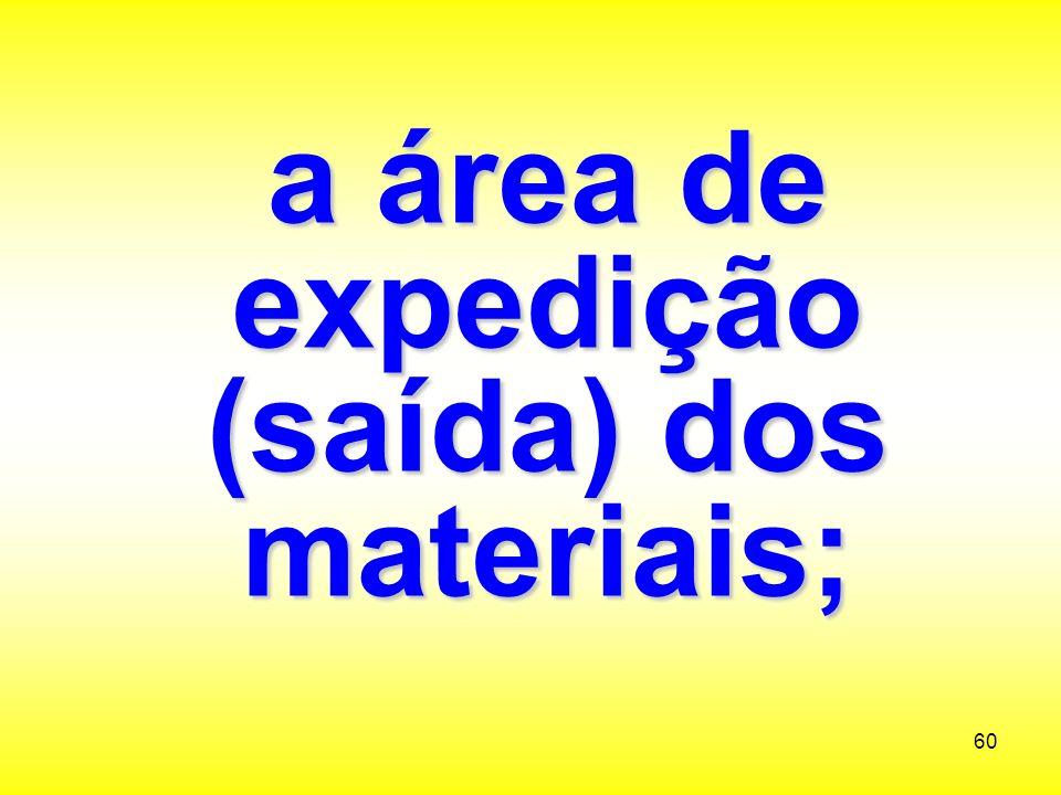 a área de expedição (saída) dos materiais;