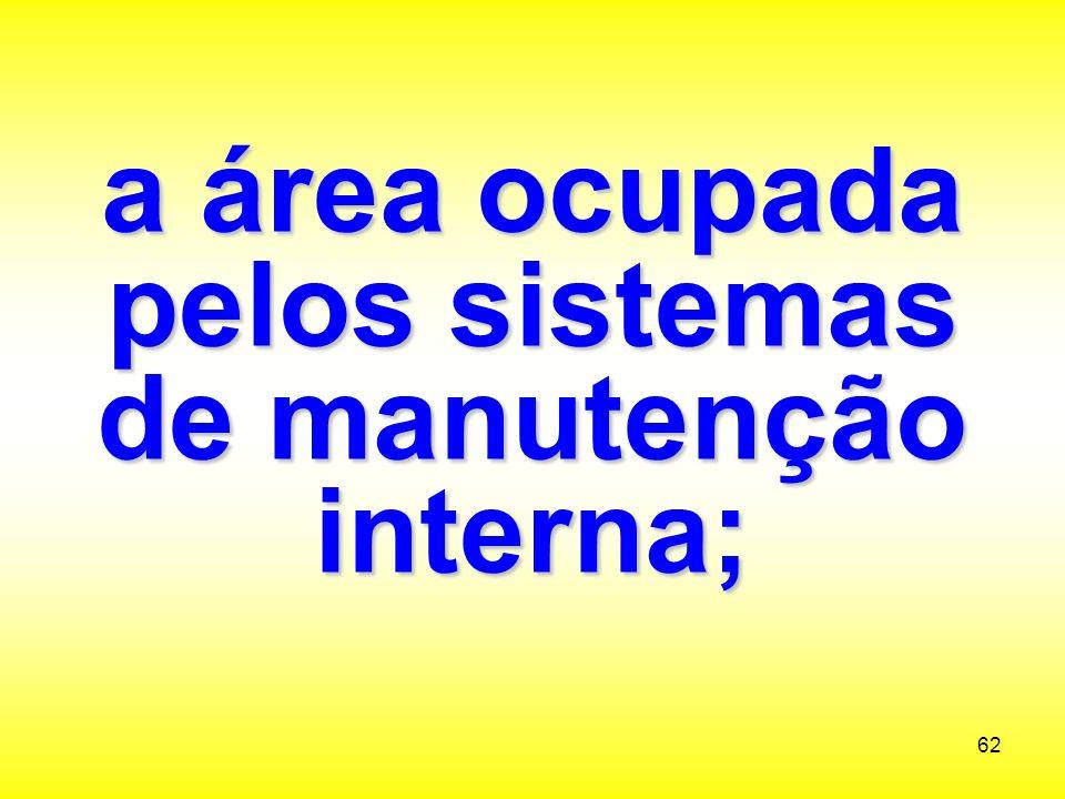a área ocupada pelos sistemas de manutenção interna;