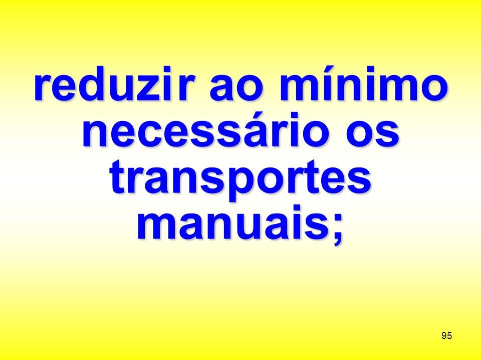reduzi r ao mínimo necessário os transportes manuais;