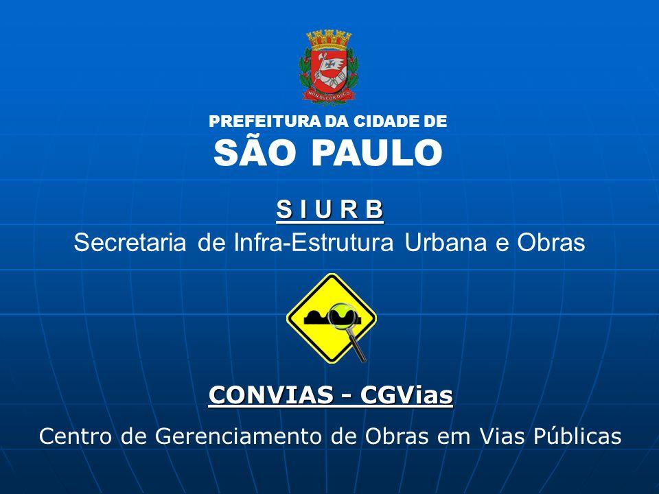 SÃO PAULO S I U R B Secretaria de Infra-Estrutura Urbana e Obras