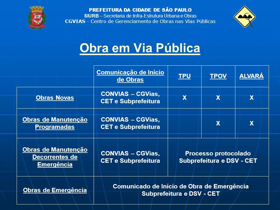 Obra em Via Pública Comunicado de Início de Obra de Emergência Subprefeitura e DSV - CET.