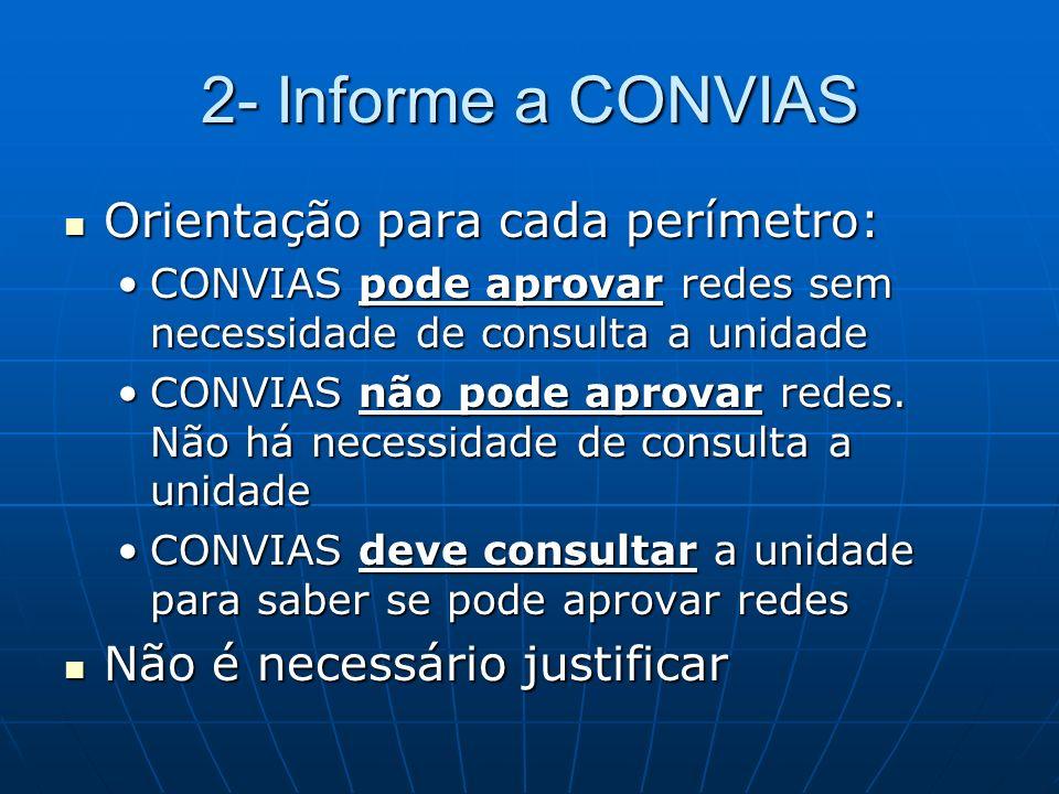 2- Informe a CONVIAS Orientação para cada perímetro: