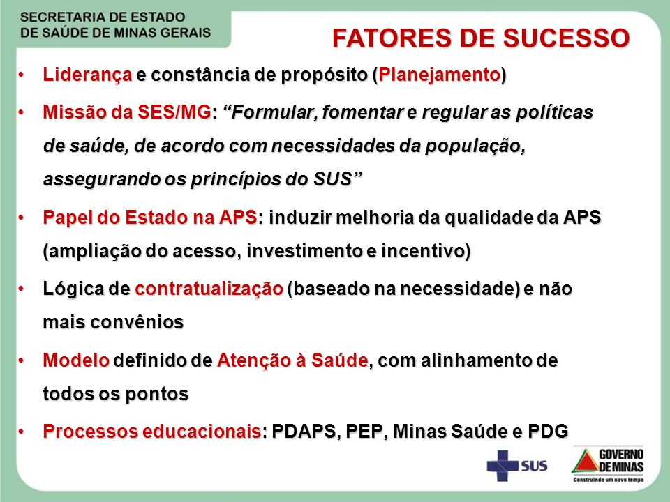 FATORES DE SUCESSO Liderança e constância de propósito (Planejamento)