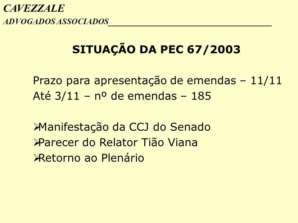 Prazo para apresentação de emendas – 11/11