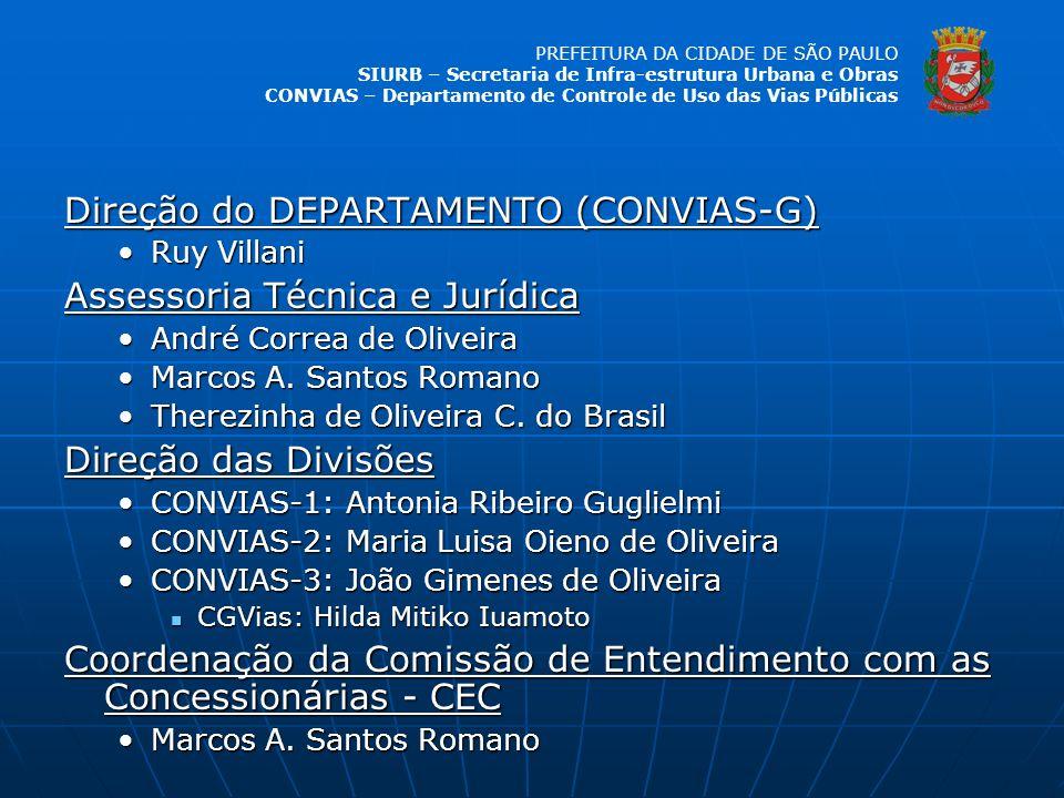 Direção do DEPARTAMENTO (CONVIAS-G) Assessoria Técnica e Jurídica