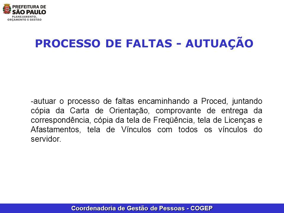 PROCESSO DE FALTAS - AUTUAÇÃO