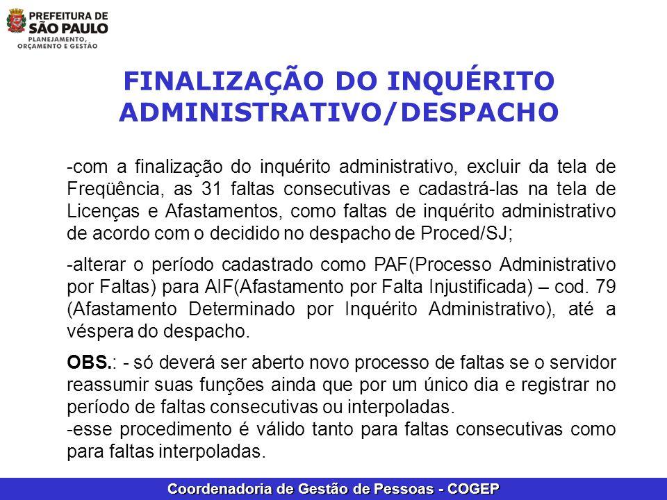 FINALIZAÇÃO DO INQUÉRITO ADMINISTRATIVO/DESPACHO