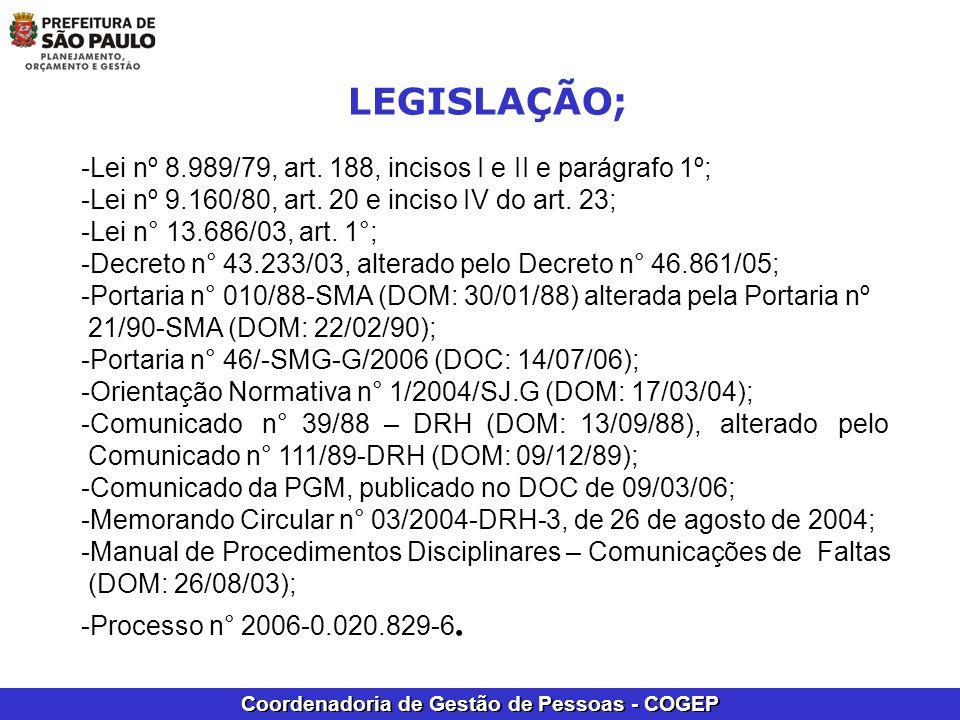 LEGISLAÇÃO; -Lei nº 8.989/79, art. 188, incisos I e II e parágrafo 1º;
