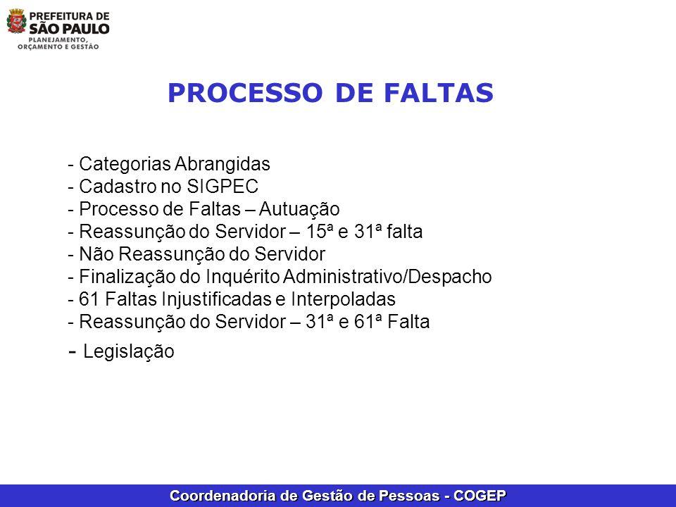 PROCESSO DE FALTAS Legislação - Categorias Abrangidas