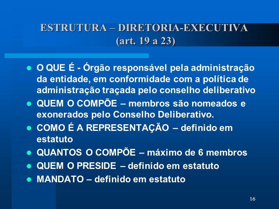 ESTRUTURA – DIRETORIA-EXECUTIVA (art. 19 a 23)