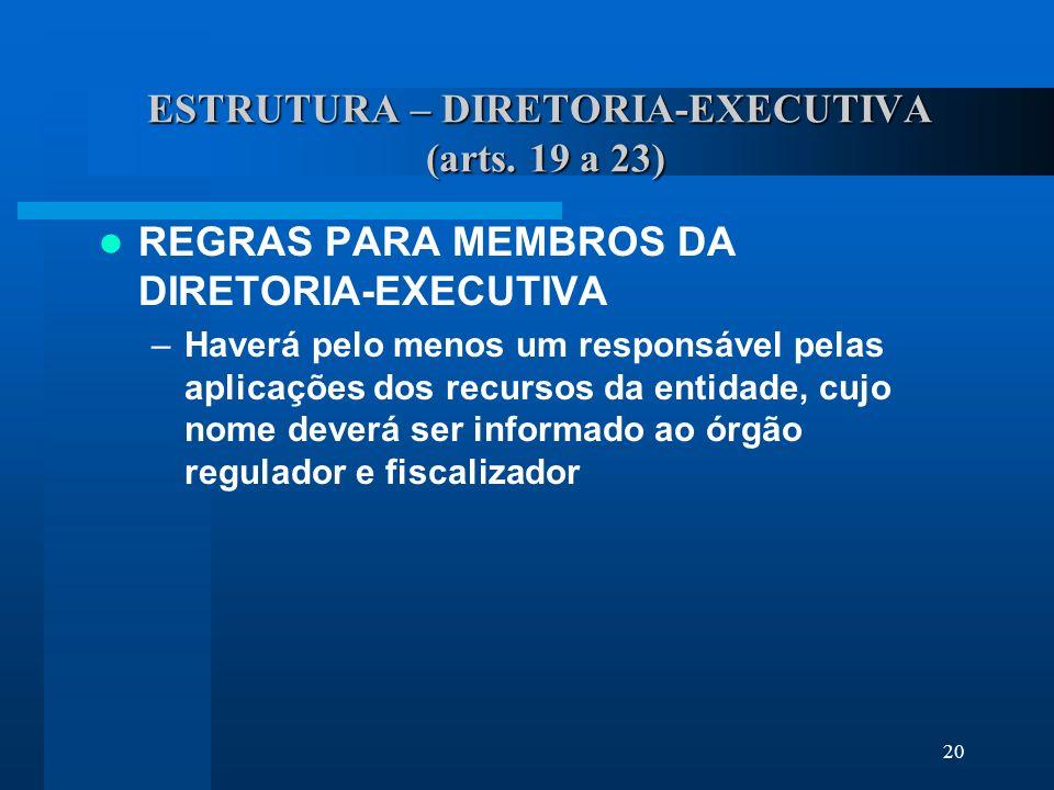 ESTRUTURA – DIRETORIA-EXECUTIVA (arts. 19 a 23)