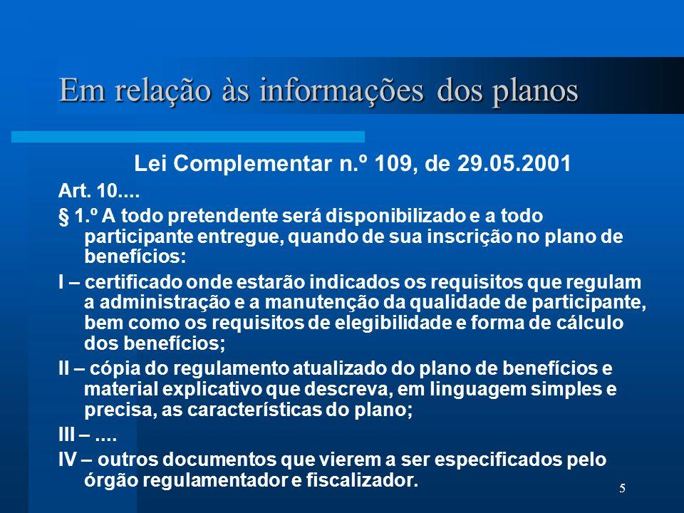 Em relação às informações dos planos