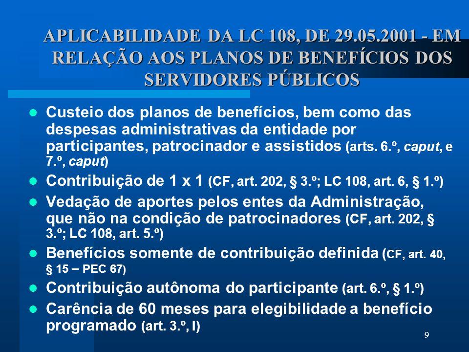 APLICABILIDADE DA LC 108, DE 29. 05