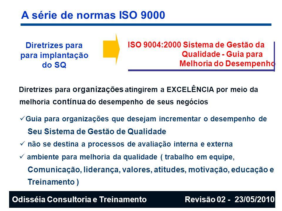 A série de normas ISO 9000 Diretrizes para para implantação do SQ