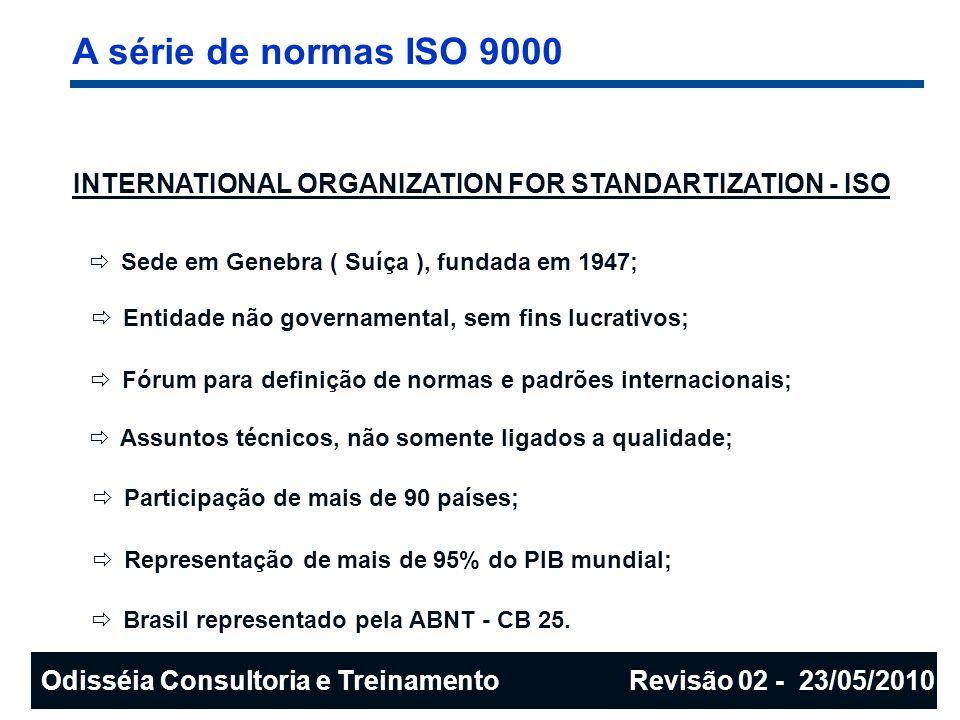 A série de normas ISO 9000 INTERNATIONAL ORGANIZATION FOR STANDARTIZATION - ISO. Sede em Genebra ( Suíça ), fundada em 1947;