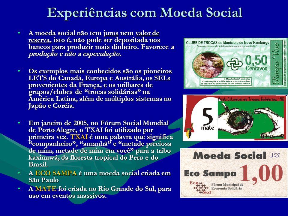 Experiências com Moeda Social