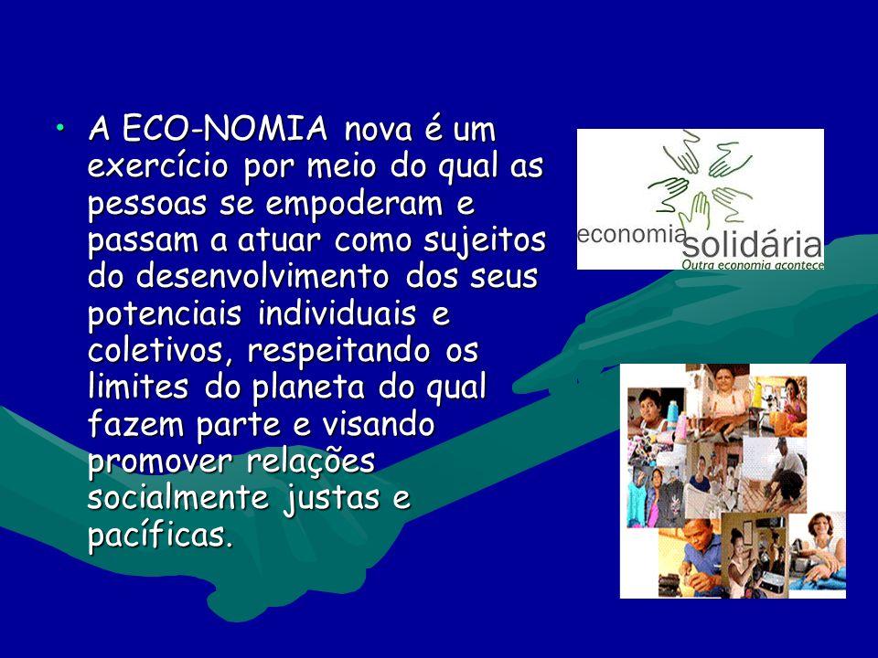 A ECO-NOMIA nova é um exercício por meio do qual as pessoas se empoderam e passam a atuar como sujeitos do desenvolvimento dos seus potenciais individuais e coletivos, respeitando os limites do planeta do qual fazem parte e visando promover relações socialmente justas e pacíficas.