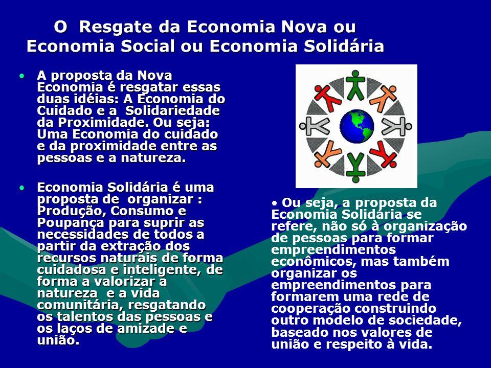 O Resgate da Economia Nova ou Economia Social ou Economia Solidária