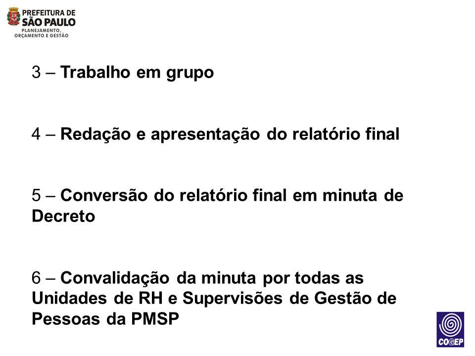 3 – Trabalho em grupo 4 – Redação e apresentação do relatório final. 5 – Conversão do relatório final em minuta de Decreto.