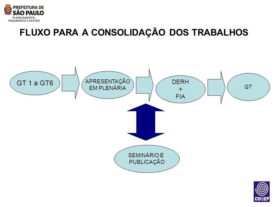 FLUXO PARA A CONSOLIDAÇÃO DOS TRABALHOS