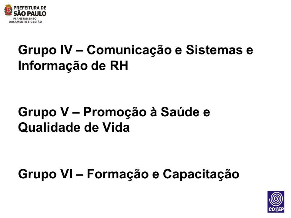 Grupo IV – Comunicação e Sistemas e Informação de RH Grupo V – Promoção à Saúde e Qualidade de Vida Grupo VI – Formação e Capacitação