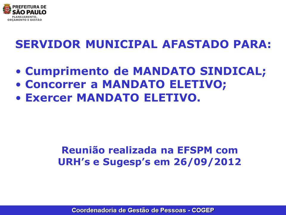 Reunião realizada na EFSPM com URH's e Sugesp's em 26/09/2012