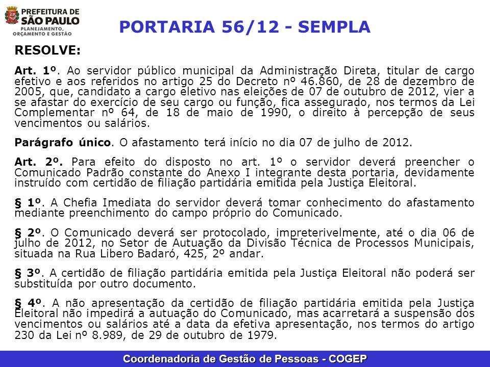 PORTARIA 56/12 - SEMPLA RESOLVE: