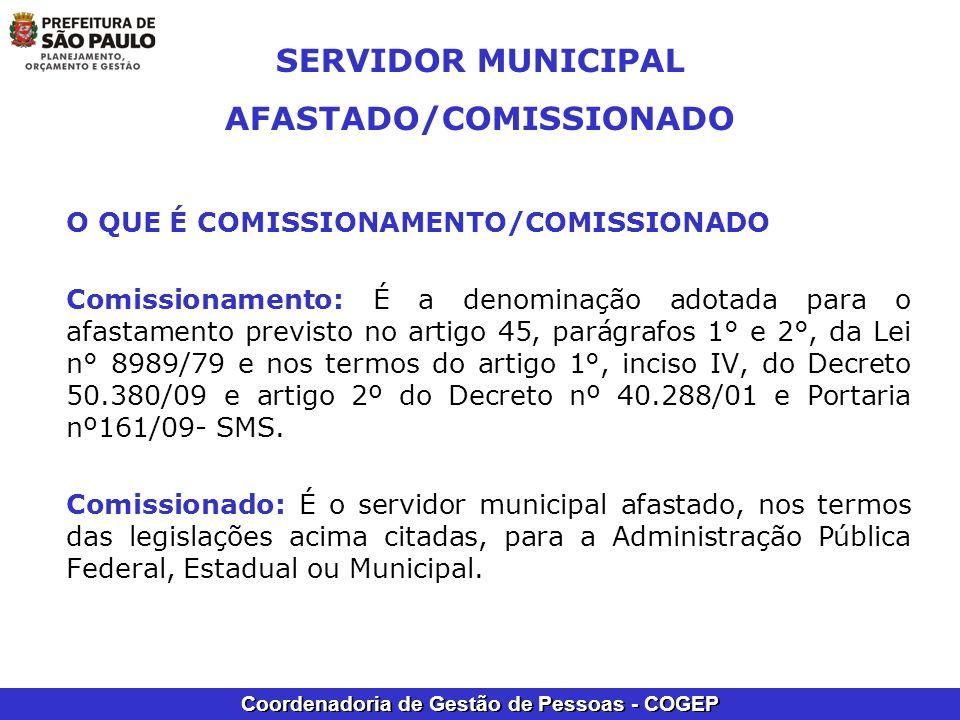 SERVIDOR MUNICIPAL AFASTADO/COMISSIONADO