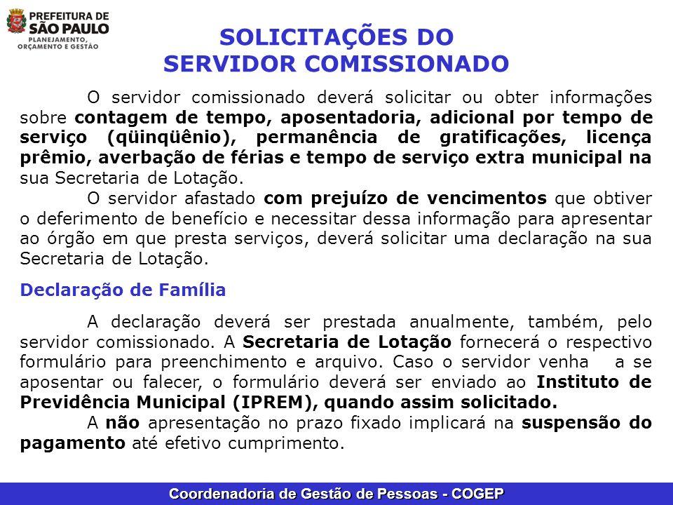 SOLICITAÇÕES DO SERVIDOR COMISSIONADO