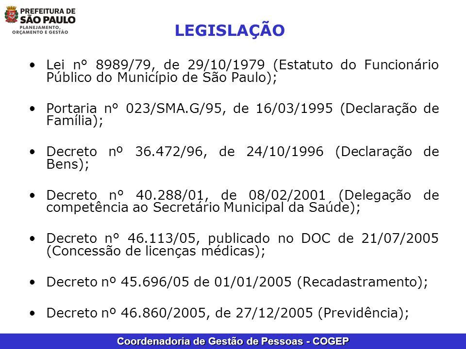 LEGISLAÇÃO Lei n° 8989/79, de 29/10/1979 (Estatuto do Funcionário Público do Município de São Paulo);