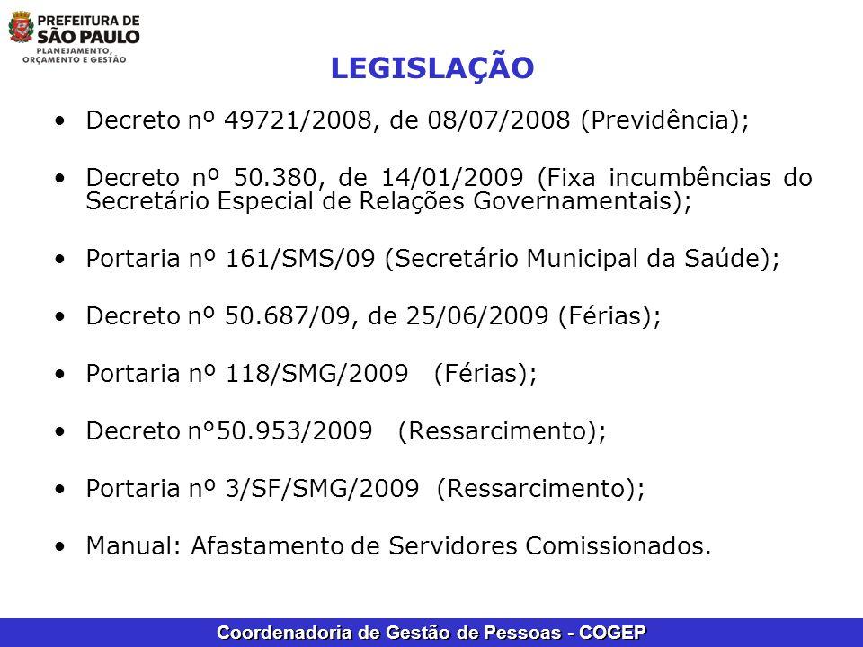 LEGISLAÇÃO Decreto nº 49721/2008, de 08/07/2008 (Previdência);